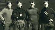 Four linemen of the 1909 football team