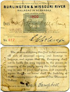 Burlington & Missouri River Railroad train pass