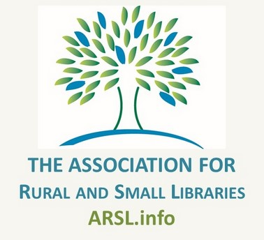 "ARSL logo: tree with green and blue leaves, text ""The association for rural and small libraries"" link below arsl.info"
