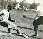 Students playing baseball